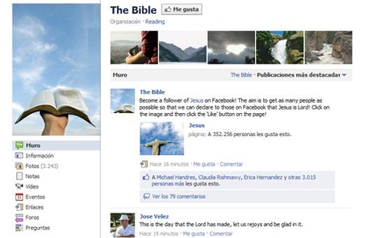 La Biblia en Facebook tiene más fans que cualquier celebridad