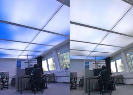 Científicos crean techo luminoso que simula el color del cielo