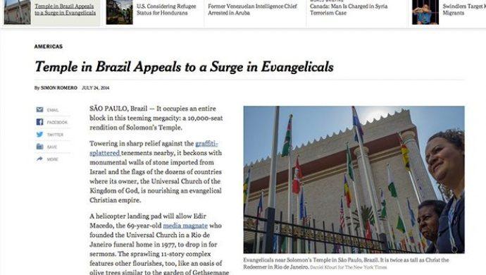 The New York Times destaca la grandiosidad del Templo de Salomón
