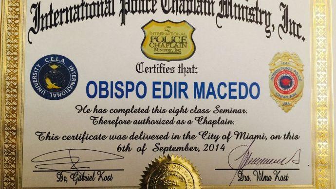 El obispo Macedo recibe el título de capellán en Estados Unidos