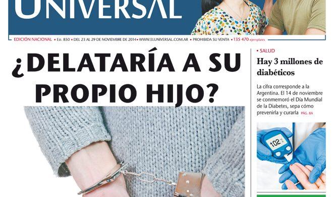 Tapa de El Universal Edición 850