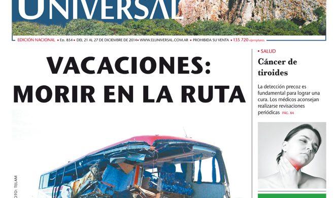 Tapa de El Universal Edición 854