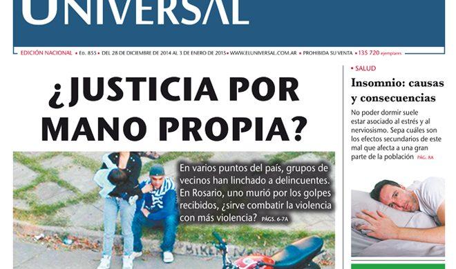 Tapa de El Universal Edición 855