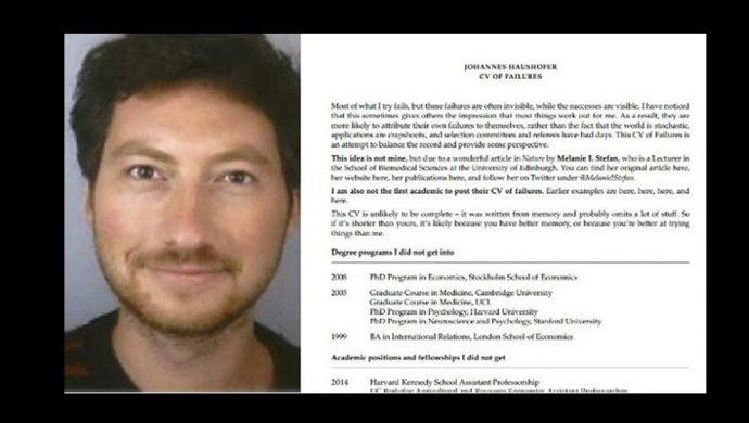 """Un profesor norteamericano exhibe su """"currículum de fracasos"""" y obtiene más notoriedad que su trabajo académico"""