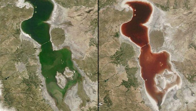 Un lago en Irán se vuelve rojo como la sangre