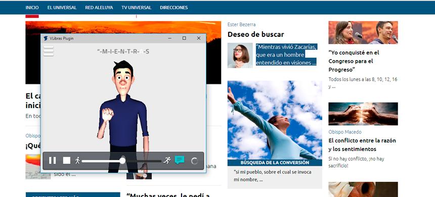 Vea el contenido de Universal.org con la utilización del software VLibras